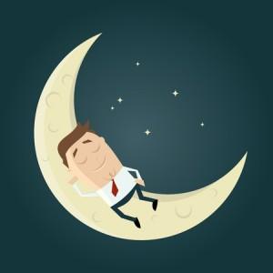 sleeping business man moon